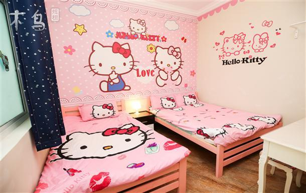 3人双床KT猫主题房 接送5分钟 亚泰乐园旅舍