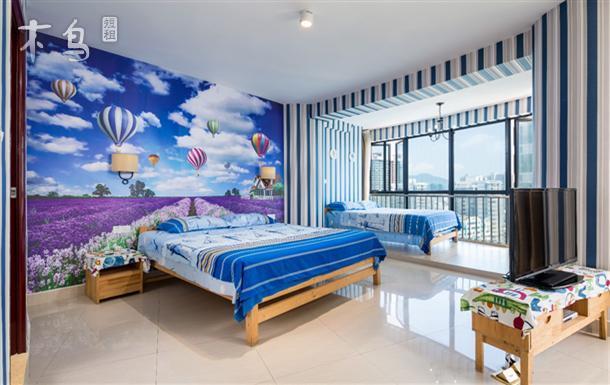 高层主题海景家庭双床房-三亚湾海月广场