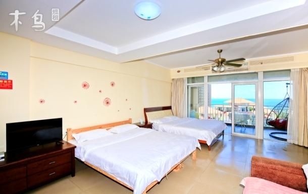 三亚湾中段一线海景家庭双床房
