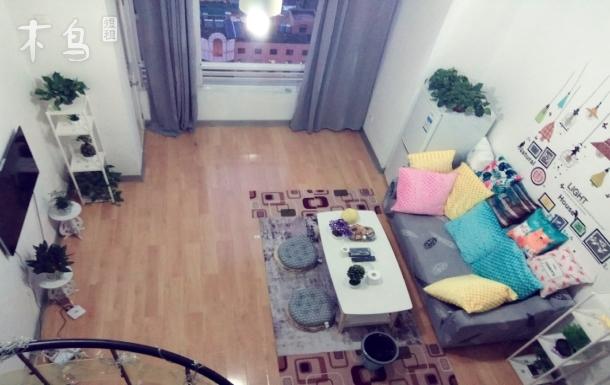 南屏街市中心金鹰广场loft跃层翠湖温馨家庭大床房