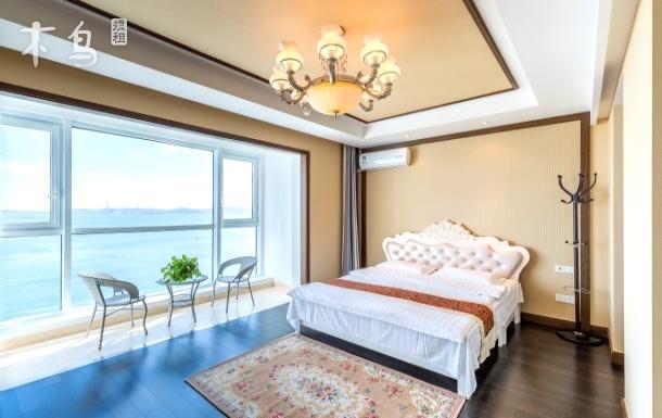 纯粹海景,躺床上看海,市中心,近刘公岛一居