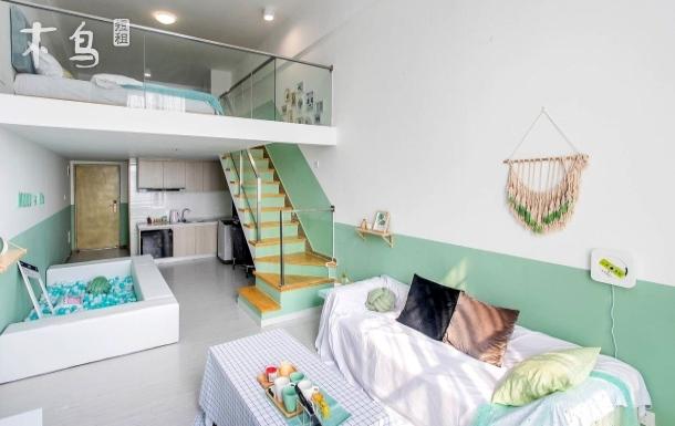 广州长隆 地铁口旁 LOFT北欧薄荷绿ins公寓一居
