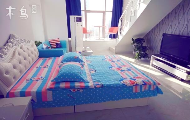 奥体万达沿海复式loft简约双床房