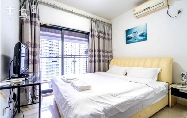 【福田口岸】地铁站高层清新舒适大床房