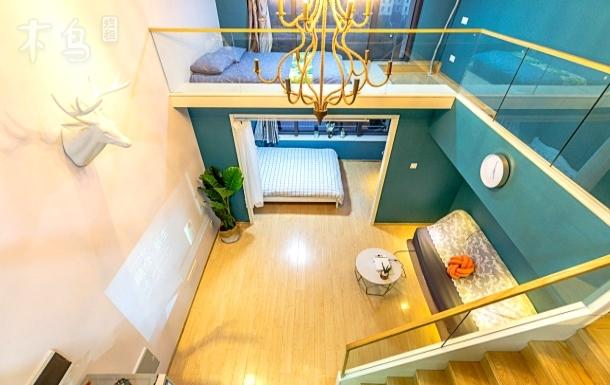 【森林系】loft公寓100寸大投影杭州中心地段 近西湖/黄龙体育馆