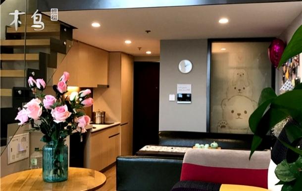 火车站栈桥ins风loft海景智能公寓双床房