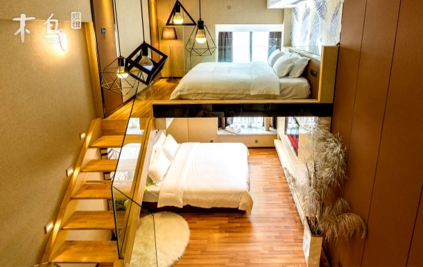 地铁口/长隆度假区/智能家居loft复式蓝牙音响双床房