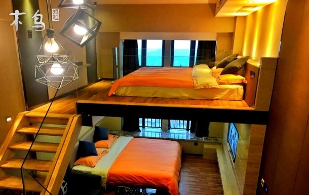 地铁口*长隆度假区*智能家居loft复式蓝牙音箱双床房