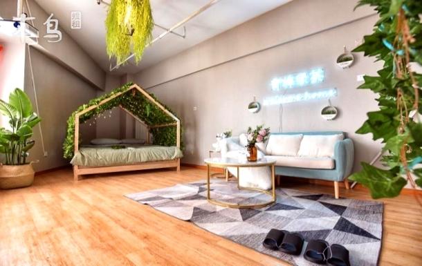 [青梅绿茶]-主题轻松双人床高清投影天津站海河天津之眼未来广场意大利风情街海河瓷房子