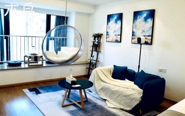 【漱芳斋】金沙湖地铁口蓝色水晶 巨屏影院大床房