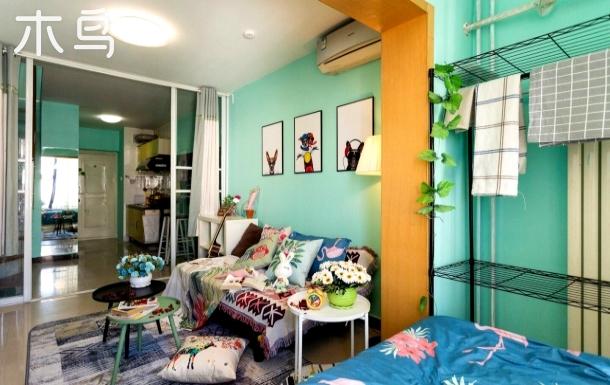 丛林秘境 北京西站轻盈绿落地窗复式Loft  可住5人家庭出行首选   近西单/西直门/动物园
